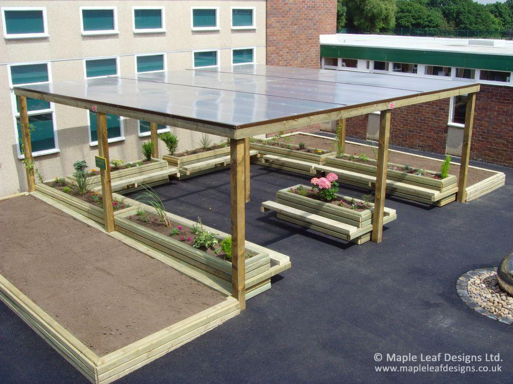 Timber Pergola with Polycarbonate Roof - Maple Leaf Designs