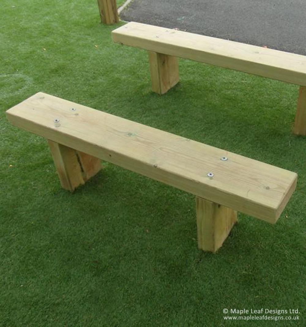 Timber Bench Seat Maple Leaf Designs