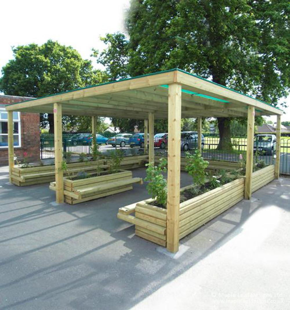 Timber Pergola With Green Mesh Roof Maple Leaf Designs