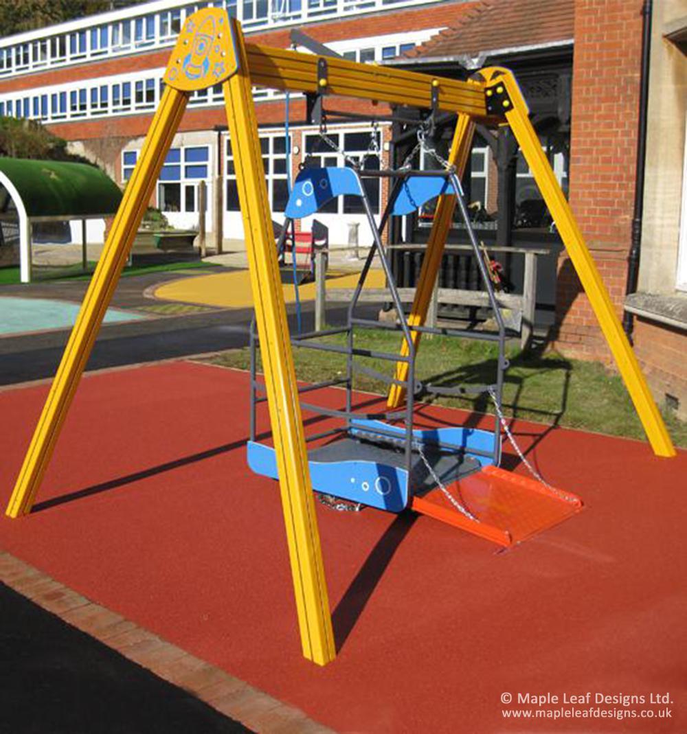 Swinging Playground Equipment : Wheelchair swing maple leaf designs