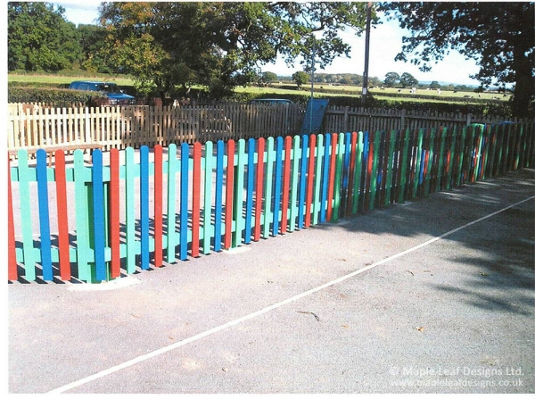 Painted Timber Bow Top Fencing