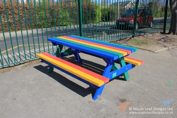 Rainbow Recycled Plastic Picnic Table