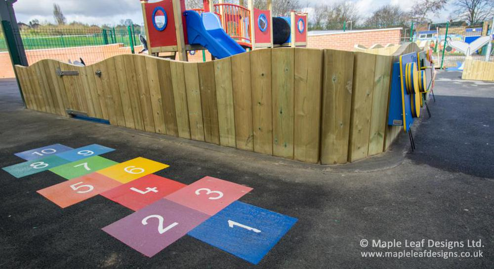 Holden Lane Primary School Hopscotch and Stockade Fencing