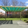 Timber Pergola with Green Mesh Roof